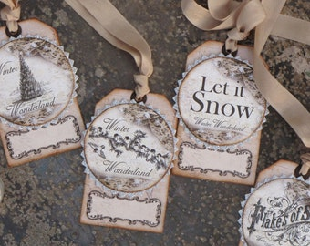 Set of FOUR  Vintage inspired Victorian Christmas Gift Tags Ornaments Cream Grey Brown