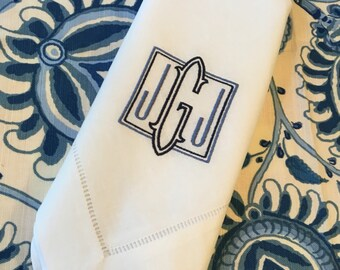 Monogrammed Linen/Cotton Napkin Embroidered Dinner Table Linens