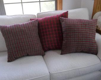 3 Plaid Pillows READY to SHIP Pillows Red Plaid Pillows Christmas Decor Decorative Pillow Porch Pillows French Country Pillows  Set of 3