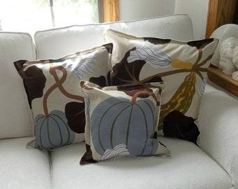 neutral fall pillows vintage marimekko fabric kumina decor fall decor fall pillows pumpkin pillows custom