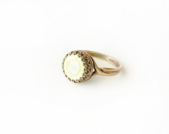 Polymer Clay Resin Dome Ring - KEY LIME - adjustable, antique brass ring setting, 10mm round cabochon - light yellow green