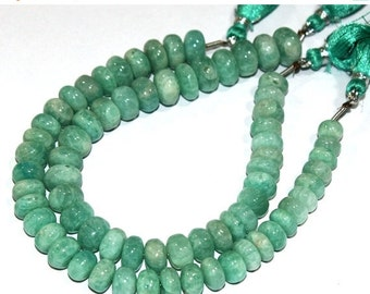 """55% Sale 2x8"""" Strand 7-10mm Finest Quality Natural Amazonite Smooth Rondelle Beads / Semiprecious Gemstone Beads"""