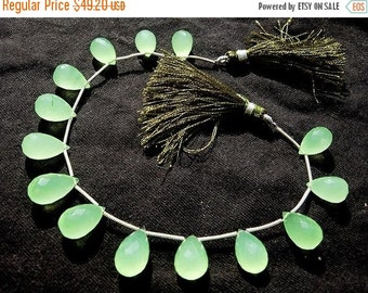 55% OFF SALE 8 Inches - AAA Prehnite Chalcedony Faceted Drop Briolettes Size 13x8 - 15x8mm approx