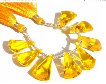 55% OFF SALE 1/2 Strand - Extremely Beautiful AAA Yellow Quartz Faceted Elongated Fan Shaped Fancy Briolettes Size 20x13mm
