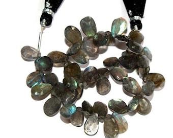 "55% OFF SALE 1/2 Strand 3.5"" 25 Pcs Natural Labradorite Faceted Pear Briolettes Size 6x5-11x6 mm Gemstone Briolette Semiprecious Beads TB08"