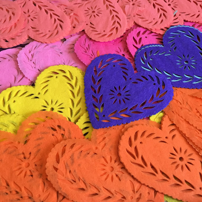 Invitation Inserts Sets of 12 papel picado heart