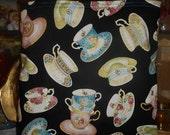 Teacup Toss Tote Bag Vintage Victorian Looking Tea Cups Handmade Purse Limited