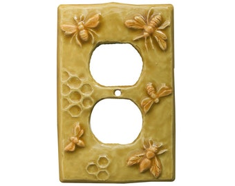 Honeybees Ceramic Duplex Outlet Plate in Apricot Gold Glaze