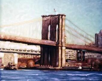 Brooklyn Bridge - Polaroid SX-70 Manipulation - 8x8 Fine Art Photograph, Wall Decor
