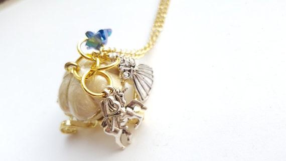 Cinderella Necklace Princess Carriage Locket Charm Pumpkin
