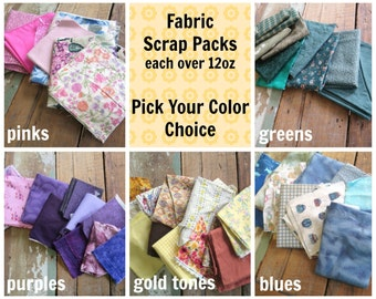 Fabric Scraps Grab Bag - Over 12oz - Vintage and Out of Print Cotton Fabric