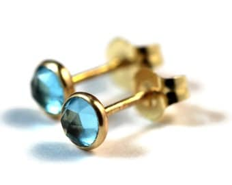 Blue Topaz Earrings, 14k Gold Earrings, November Birthstone, Topaz, 14k Gold Stud Earrings, Blue Topaz Studs, Gold Studs, Gemstone Studs
