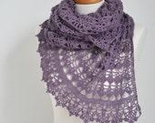 Lace crochet shawl, Purple,  P417