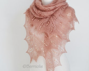 Lace knit shawl, peach with peach fresh water pearls, P457