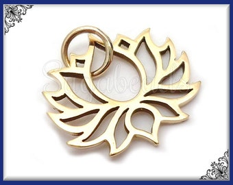 1 Natural Bronze Lotus Charm 19mm ND17