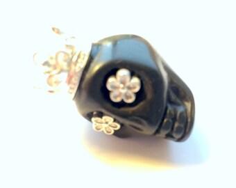 Silver Daisy Eyes Crowned Gigantic Black Howlite Sugar Skull Bead or Pendant