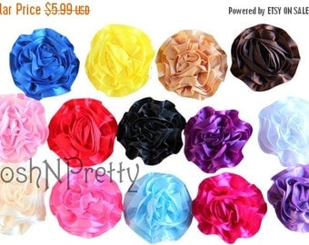 "25% OFF SALE Five NEW 3"" Satin Single Ruffle flowers - Choose Colors"