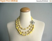 yellow statement necklace,chunky yellow necklace, multi strand necklace