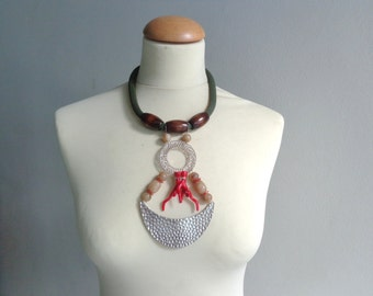 long brown red coral necklace rope long statement necklace