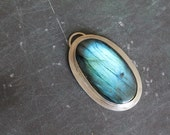Stunning OOAK Labradorite and Sterling Silver Pendant - LARGE - Blue Flash - Striated - Bold - Handmade Jewelry