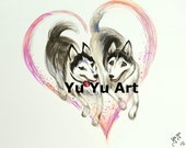 Custom order for Maria - Huskies - original hand drawn picture for Christmas gift