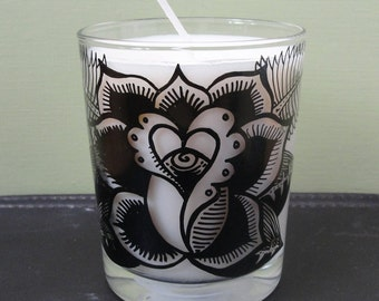 Sacred Rose Glass Candle – Scent, Freshly Cut Roses