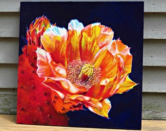 """Original, vibrant painting, acrylic CACTUS FLOWER, 20""""x20""""x3/4"""" cradled board, ready to hang, OOAK, incl shipping"""