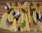 """Roosters/ Chickens Valance - 50"""" x 16"""" -Duralee Roosters Slub Yellow Fabric- black, ivory, green, red, brown, slate, gold and yellow"""