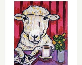 ON SALE Sheep at the Coffee Shop Art Print