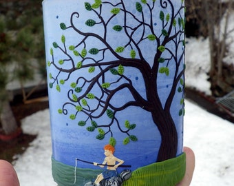 Boy Fishing under a Tree Sculpted with Polymer Clay onto a Recycled Glass Candle Holder in Periwinkle Blue