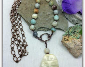 Crazy #Lace #Agate #Pendant #Amazonite Beaded #Boho #Necklace #Bohemian #Jewelry #Gemstone #Hand #knotted #Pullover #Extra Long #Gypsy #Chic