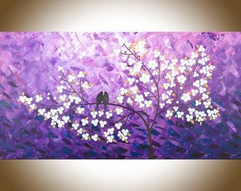 "Purple white wall art love birds art acrylic painting copper art copper home decor gift for her gift for mom""Lavender Dreams"" by qiqigallery"