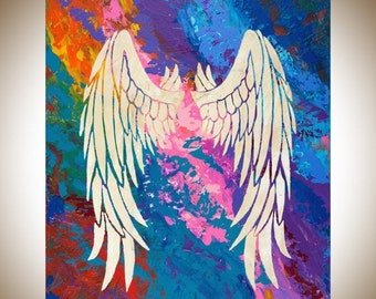 "Angel art Colorful Abstract painting original artwork wall art canvas art yellow pink blue purple painting ""Angel's Wings 2"" by qiqigallery"