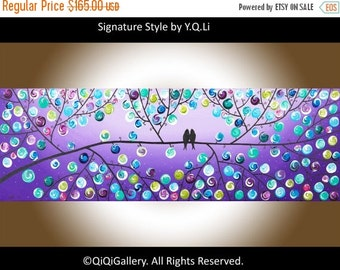 "Modern Wall Art Acrylic painting BIRDS art wall decor Impasto palette knife wall hangings Wedding Gift ""Lavender Evening"" by QIQIGALLERY"