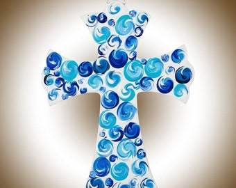 """12"""" wood Cross sign wall hanging wall decor wall art Impasto swirls Hand paint signage baptism gift """"Cross II"""" by QIQIGallery"""