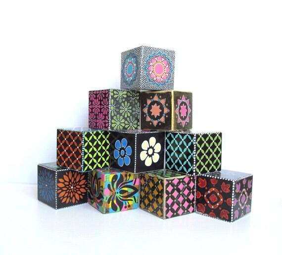 Wood Blocks Hand Painted large wood blocks set of ten hand painted wooden blocks Decorative blocks