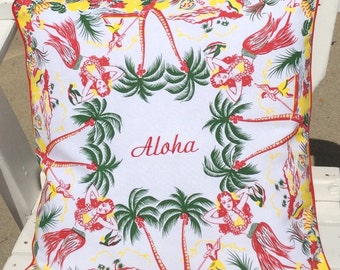 "Aloha Embroidered Pillow Cover, 18"" Aloha Pillow Cover, Hawaiian Print Aloha Embroidered Pillow Cover, Hawaiian Decor, Hawaii Souvenir"