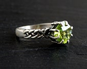 Peridot Ring: Sterling silver, cushion cut peridot, size 8, checkerboard cut, gemstone jewelry, August birthstone, Celtic Knot ring, woven