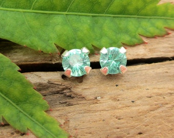 Apatite Earrings in Gold, Silver, or Platinum with Genuine Gems, 4mm - Free Gift Wrapping