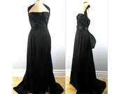 Vintage 40s Halter Evening Gown with Train S in a Lustrous Faille with pouff