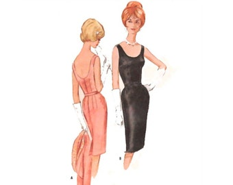 Vintage 1960's Sewing Pattern Sexy Scoop Neck Wiggle Cocktail Dress w Matching Reversible Bolero Jacket Size 12 Bust 32 Small McCall's 6572