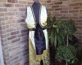 Men's Genie costume, Aladdin costume, Rajah costume--gold brocade with black trim and sash
