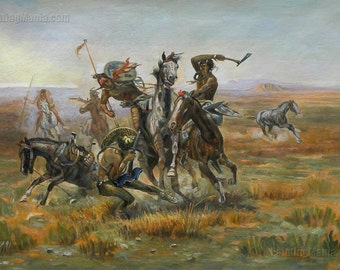When Blackfeet and Sioux Meet -Charles Russell hand-painted oil painting reproduction,North Western Indians Fighting art,Native American Art
