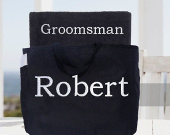 Wedding Party Towel and Tote Gift Set!  Bridesmaid and Groomsman Towel and Tote Set!