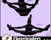 Cheerleader Jump Toe Touch Sillhouettes - Vinyl Ready Image digital clipart graphics - 2 EPS, SVG, or PNG files