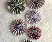 Christmas Rosettes...6 Piece Set of Very Merry Christmas Theme Scrapbooking Paper Flower Rosettes