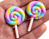 5pc pastel rainbow swirl lollipops / miniature clay sweets / kawaii fake candy / lolly embellishments / faux pastel lolli cabochon flatback
