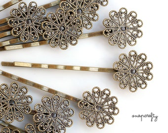 6pc filigree hairpin blank /  16mm antique brass hair pin blank for embellishing / lead free, nickel free