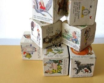 Vintage Set of Nine Large Cardboard Childrens Poetry Cubes by Golden Press