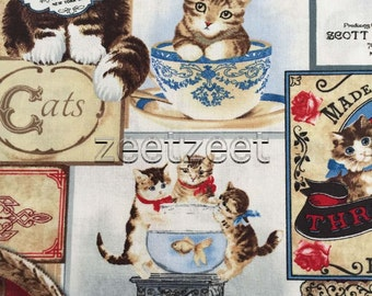 VICTORIAN CATS CREAM Brown Red White Blue Cotton Quilt Fabric by the Yard, Half Yard or Fat Quarter Fq Kittens Vintage Blocks Signs Labels